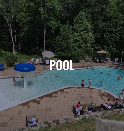 Pool with people swimming and sitting around it. It contains a text overlay that reads pool.