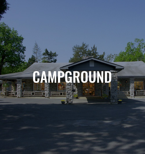 Building entrance with a text overlay that reads Campground.